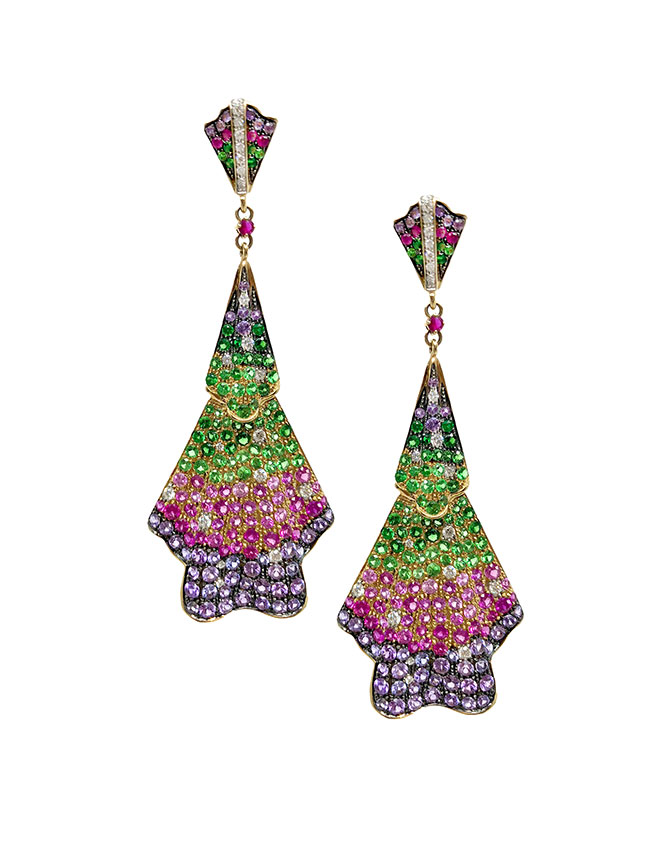Hanut Singh Deco multi sapphire and diamond ribbon earrings earrings