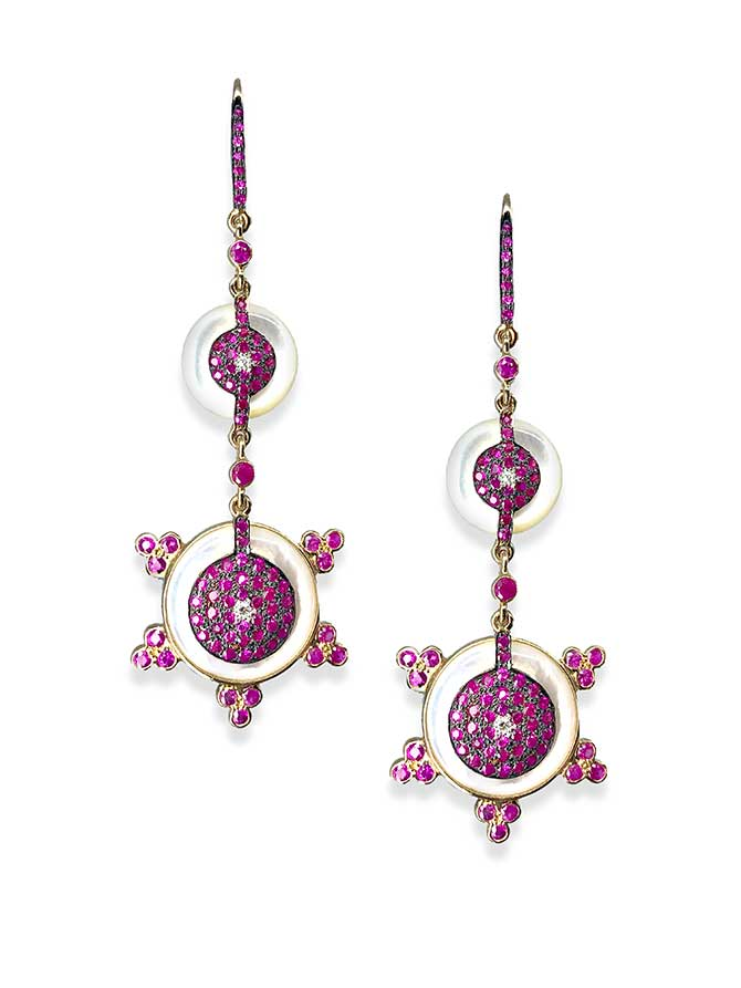 Hanut Singh Double Discettes earrings