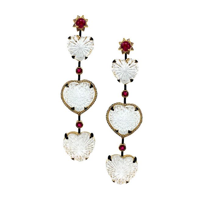 Hanut Singh Rock Crystal Heart earrings