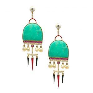 Hanut Singh chrysoprase and pearl earrings