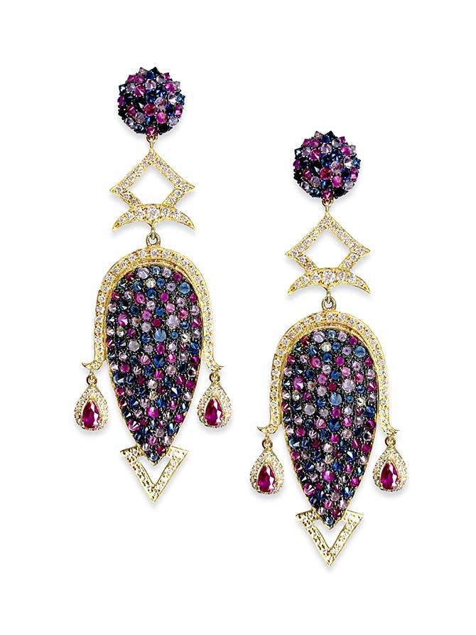 Hanut Singh multi pave earrings