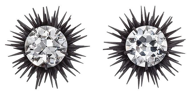 Hemmerle diamond earrings in iron