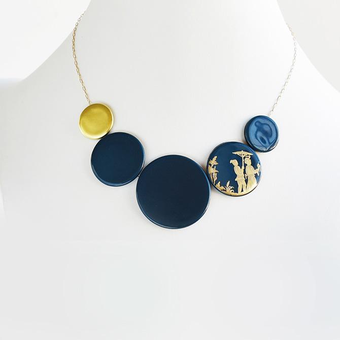 Iris Apfel Blue Chinoiserie necklace