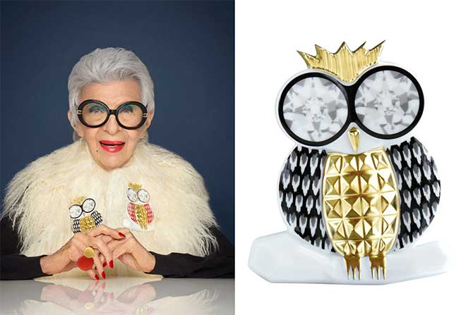 Iris Apfel owl brooches