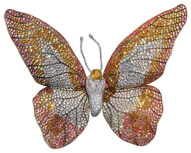 JAR multigem butterfly brooch