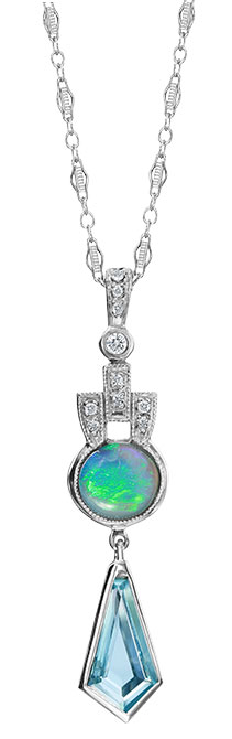 Just Jules opal aquamarine necklace