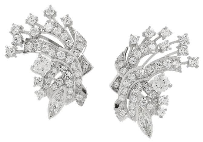 Midcentury diamond spray earrings