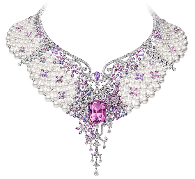 Mikimoto Jardin Mysterieux necklace with pearls morganite spinel sapphires diamonds