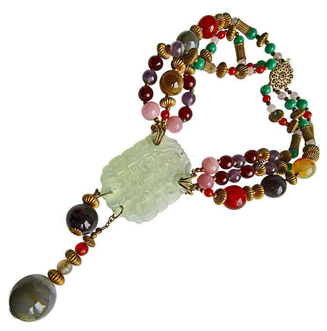 Miriam Haskell jadeite necklace with rose quartz agate beads