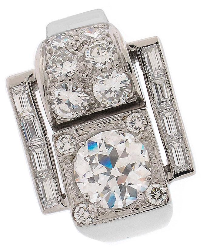 Platinum diamond buckle ring