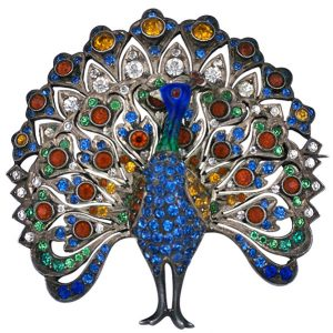 Strutting Peacock colored paste brooch