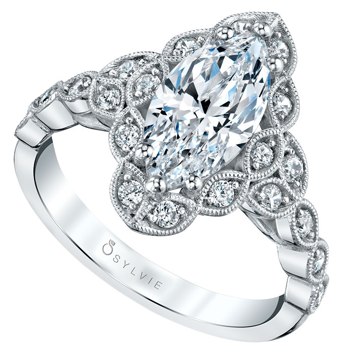 Sylvie marquise vintage engagement ring