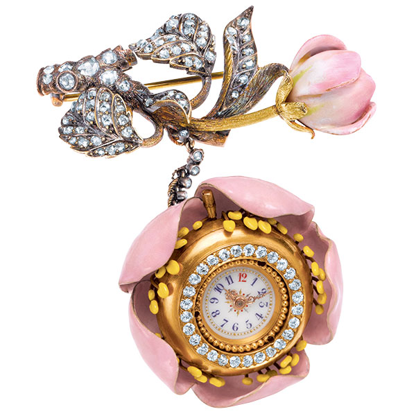 TIffany apple blossom pocket watch