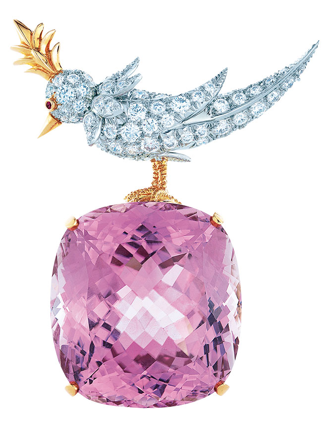Tiffany kunzite bird on a rock brooch