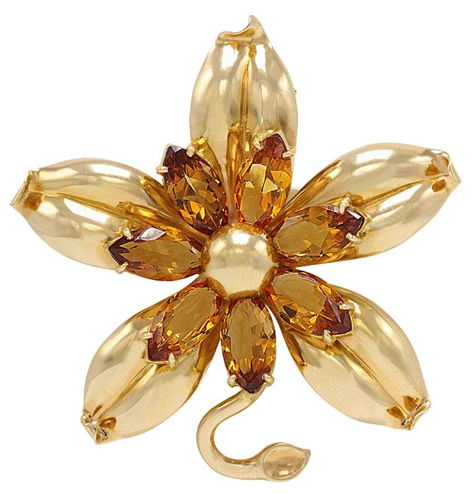 Van Cleef retro citrine flower brooch