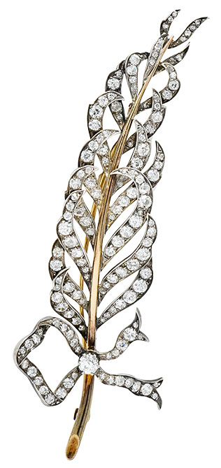 Victorian diamond feather brooch