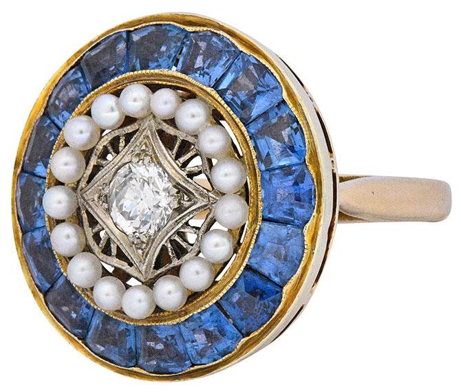 edwardian sapphire pearl diamond ring