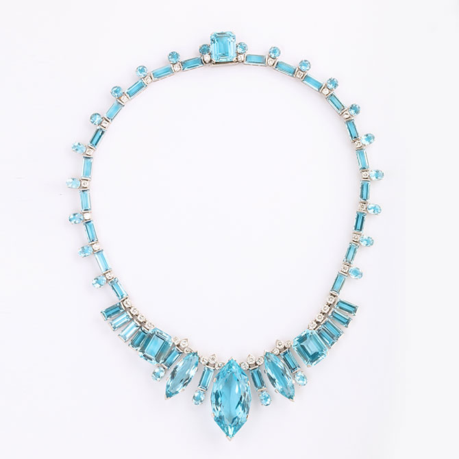ALVR aquamarine and diamond necklace