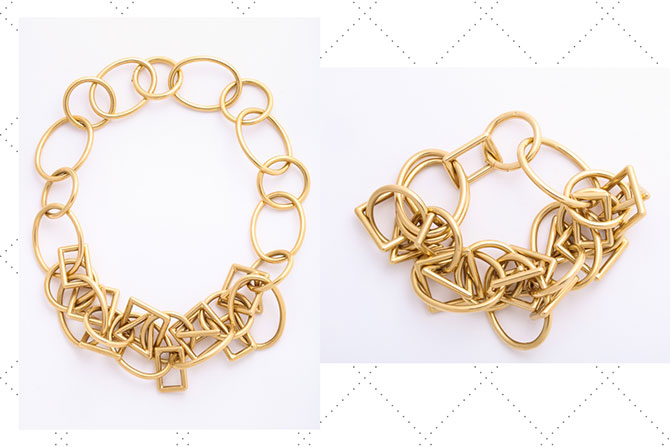 ALVR gold geometric link bracelet and necklace