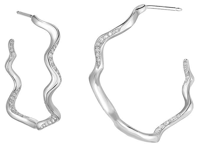 Amanda Pearl lab created ripple hoop earrings