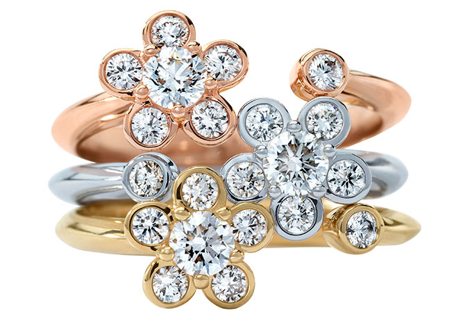 Atelier Swarovski diama bloom lab grown stack rings