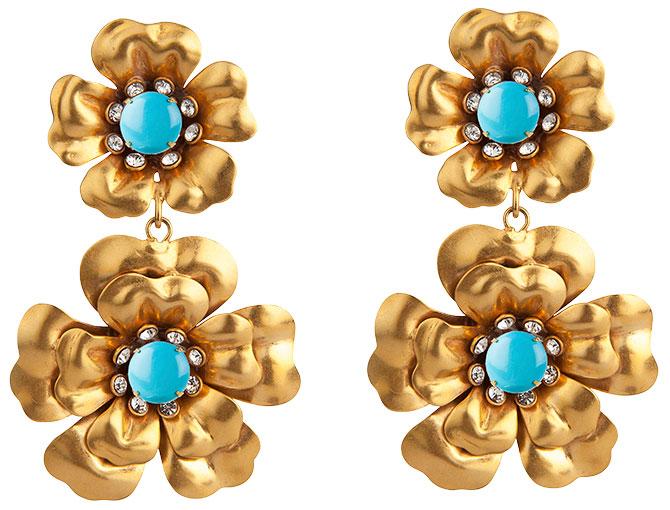 Bounkit turquoise quartz flower earrings