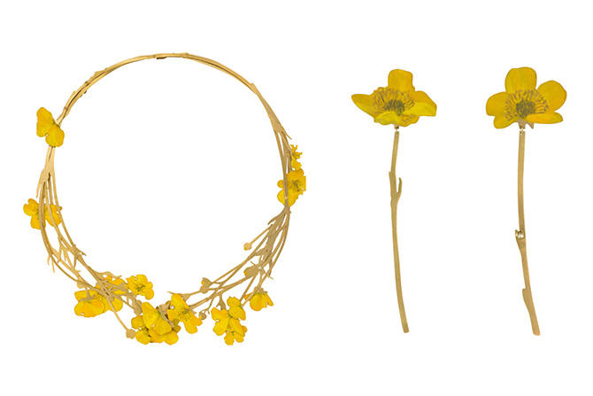 Christopher Thompson Royds Buttercups earrings and necklace