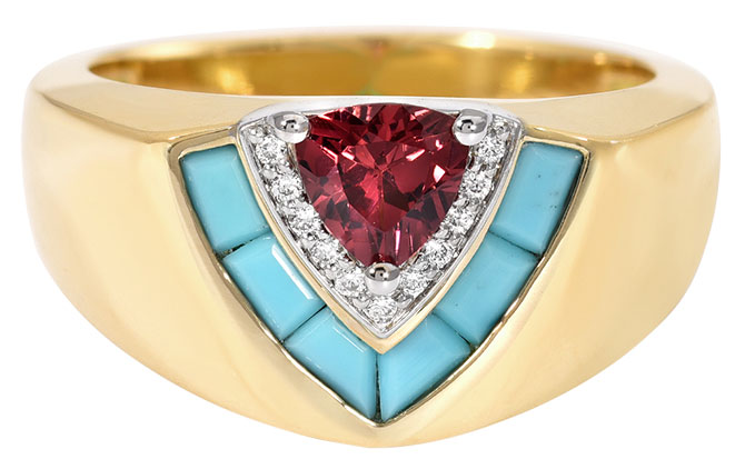 Emily P Wheeler signet ring with turquoise garnet