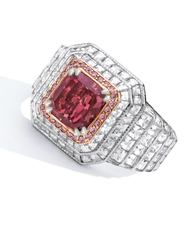 Fancy Red Diamond and Diamond ring