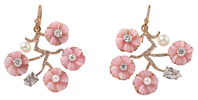 Irene Neuwirth pink opal cherry blossom earrings