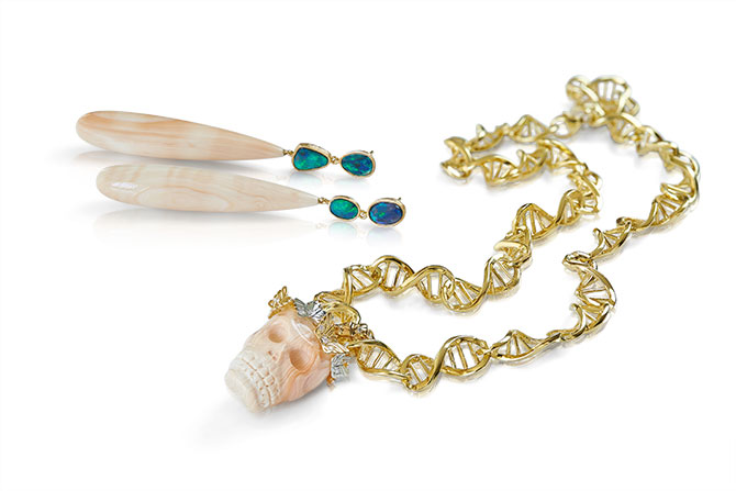 K Brunini earrings and necklace