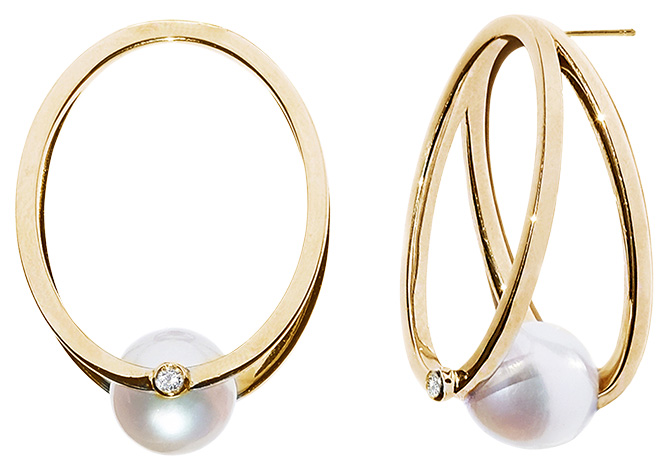 KatKim gold pearl hoop earrings