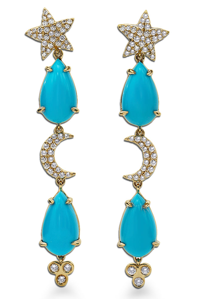 Laura Medine turquoise celestial earrings