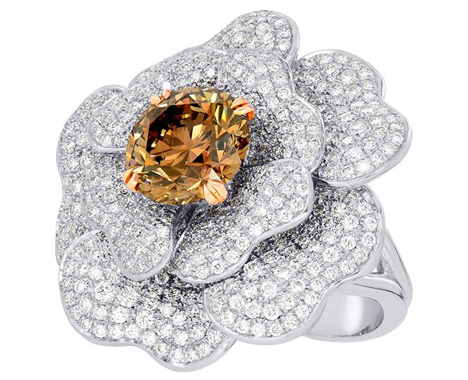 Leibish and Co orange brown diamond flower ring