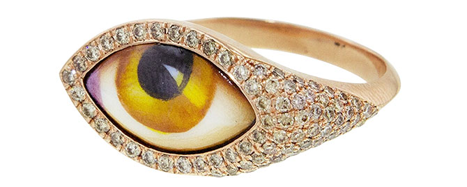 Lito amber enamel evil eye ring