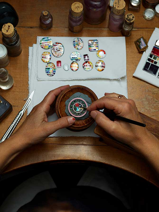 Louis Vuitton Escale Spin Time watch enameling in progress