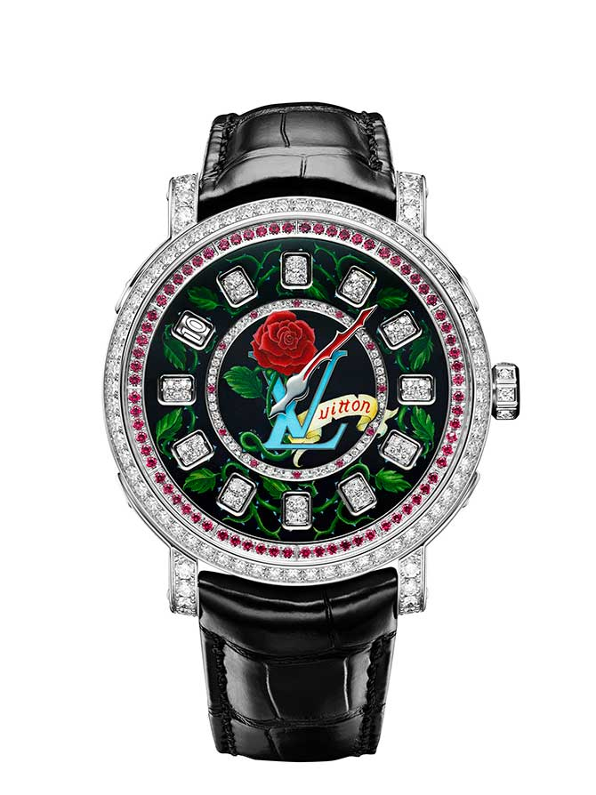 Louis Vuitton Escale Spin Time watch rose tattoo