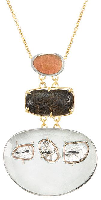 Merzatta cairnes diamond petrified whale bone pendant