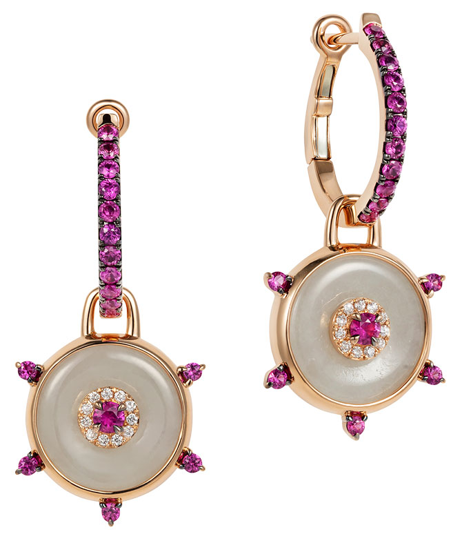 Nadine Aysoy pink sapphire jade celeste earrings