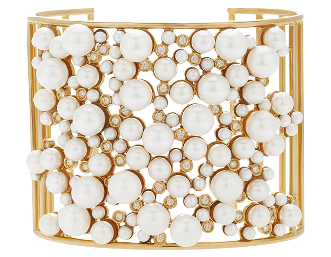 Nancy Newberg pearl diamond cluster cuff