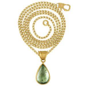 Prounis green aquamarine tear pendant