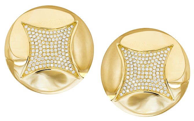 Ralph Masri gold diamond button earrings