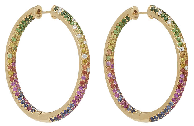 Robinson Pelham rainbow disco multi gemstone hoops