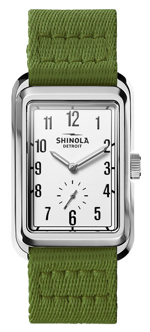Shinola omaha watch with green nylon strap