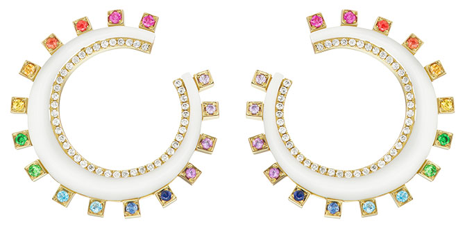 Sorellina monroe crescent rainbow earrings