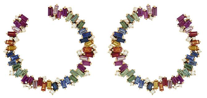 Suzanne Kalan rainbow sapphire spiral hoops