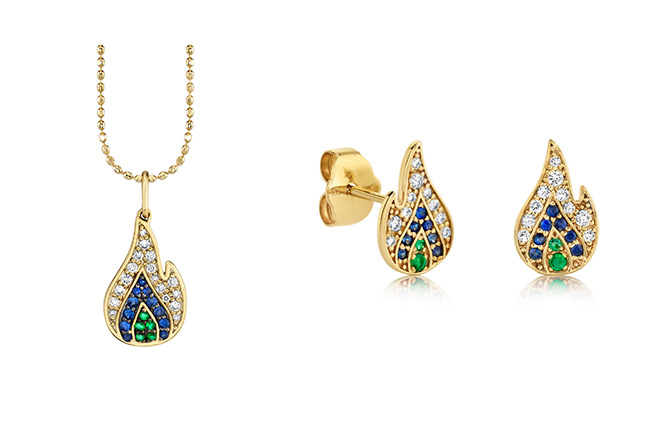 Sydney Evan flame earrings and pendant