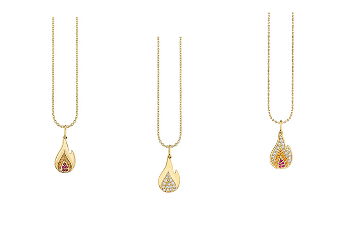 Sydney Evan flame pendants