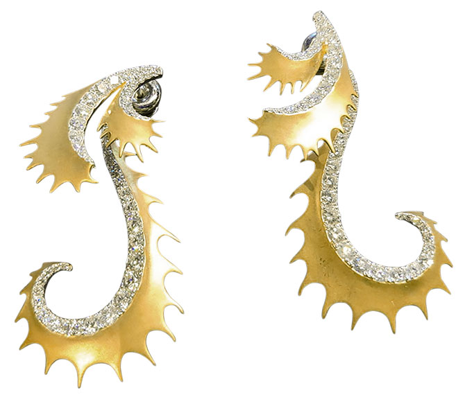 Umrao golden dragon tail earrings