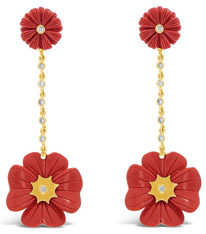 Brent Neale coral flower earrings
